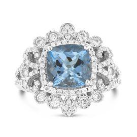 14k White Gold Aquamarine Fashion Ring 5/8 ct. tw.