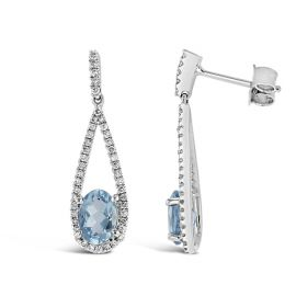 14k White Gold Aquamarine Earrings 1/3 ct. tw.