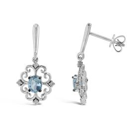 14k White Gold Aquamarine Earrings .08 ct. tw.