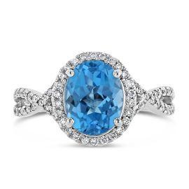 14k White Gold Blue Topaz Fashion Ring 1/3 ct. tw.