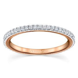 Verragio 14k White Gold and 14k Rose Gold Diamond Wedding Band 1/4 ct. tw.