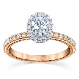 Verragio 14k Rose and 14k White Gold Diamond Engagement Ring Setting 1/2 ct. tw.