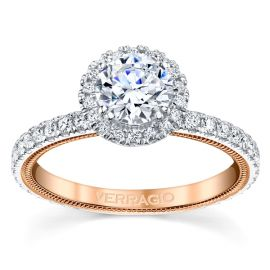 Verragio 14k White Gold and 14k Rose Gold Diamond Engagement Ring Setting 1/2 ct. tw.