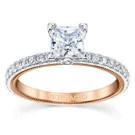 Verragio 14k White Gold and 14k Rose Gold Diamond Engagement Ring Setting 3/8 ct. tw.