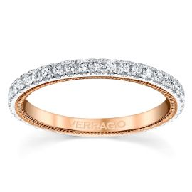 Verragio 14k White Gold and 14k Rose Gold Diamond Wedding Band 3/8 ct. tw.