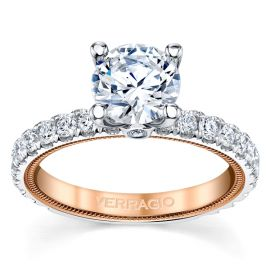 Verragio 14k White Gold and 14k Rose Gold Diamond Engagement Ring Setting 3/4 ct. tw.