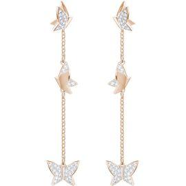 Swarovski Lilia Pierced Earrings, White, Rose Gold-Tone plating