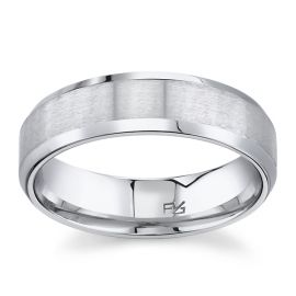 14k White Gold 6 mm Wedding Band