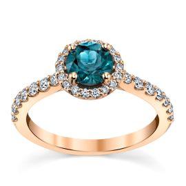 Blossom Bridal 14k Rose Gold Blue Spinel Diamond Engagement Ring 3/8 ct. tw.
