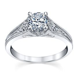 14k White Gold Diamond Engagement Ring Setting 1/10 ct. tw.