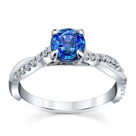 Blossom Bridal 14k White Gold Ceylon Sapphire Diamond Engagement Ring 1/5 ct. tw.