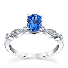 Blossom Bridal 14k White Gold Ceylon Sapphire Diamond Engagement Ring .07 ct. tw.