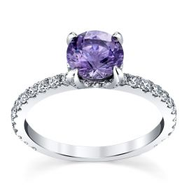 Blossom Bridal 14k White Gold Purple Spinel Diamond Engagement Ring 1/2 ct. tw.
