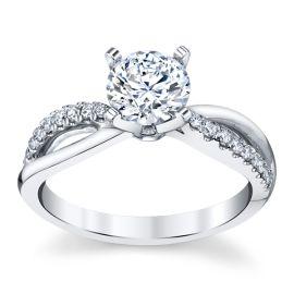 14k White Gold Diamond Engagement Ring Setting 1/7 ct. tw.