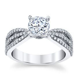 14k White Gold Diamond Engagement Ring Setting 3/8 ct. tw.