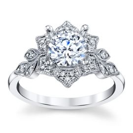 14k White Gold Diamond Engagement Ring Setting 1/8 ct. tw.