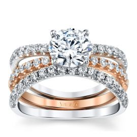 Simon G. 18k White Gold and 18k Rose Gold Diamond Wedding Set Setting 5/8 ct. tw.