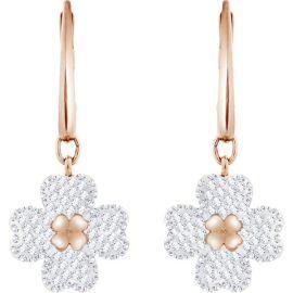 Swarovski Latisha Pierced Earrings, White, Rose Gold-Tone plating
