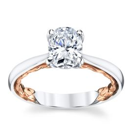 A. Jaffe 14k White Gold and 14k Rose Gold Diamond Engagement Ring Setting .05 ct. tw.