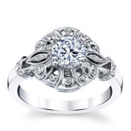 RB Signature 14k White Gold Diamond Engagement Ring Setting .08 ct. tw.
