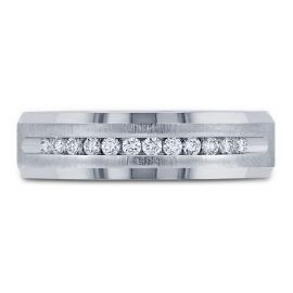 14k White Gold 6 mm Diamond Wedding Band 1/4 ct. tw.