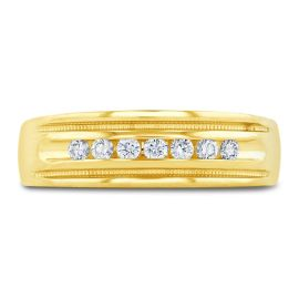 14k Yellow 6.5 mm Diamond Wedding Band 1/4 ct. tw.