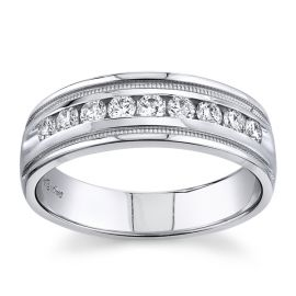 14k White 7 mm Diamond Wedding Band 1/2 ct. tw.