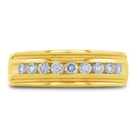 14k Yellow 7 mm Diamond Wedding Band 1/2 ct. tw.