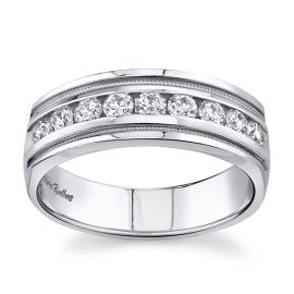 14k White 7.5 mm Diamond Wedding Band 3/4 ct. tw.