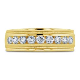 14k Yellow 7.5 mm Diamond Wedding Band 3/4 ct. tw.