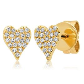 Shy Creation 14k Yellow Gold Heart Earrings 1/10 ct. tw.