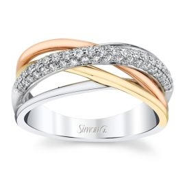 Simon G. 18k White Gold and 18k Yellow Gold and 18k Rose Gold 3.6 mm Diamond Wedding Band 1/3 ct. tw.