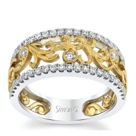 Simon G. 18k White Gold and 18k Yellow Gold 5.2 mm Diamond Wedding Band 1/2 ct. tw.