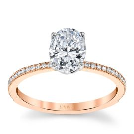 Simon G. 18k Rose and 18k White Gold Diamond Engagement Ring Setting 1/8 ct. tw.