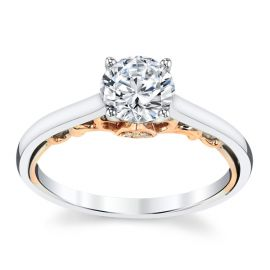 RB Signature 14k White Gold and 14k Rose Gold Diamond Engagement Ring Setting .02 ct. tw.
