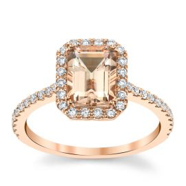 Blossom Bridal 14k Rose Gold Morganite Diamond Engagement Ring 1/3 ct. tw.