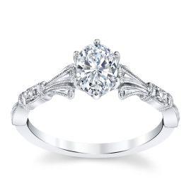 Kirk Kara 14k White Gold Diamond Engagement Ring Setting .01 ct. tw.