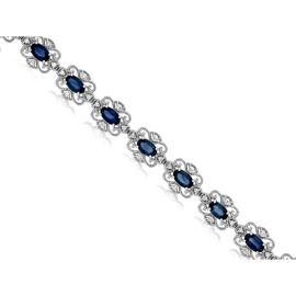 14k White Gold Blue Sapphire Bracelet 1/4 ct. tw.