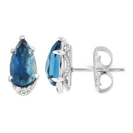 Tacori Jewelry Sterling Silver London Blue Topaz Earrings .04 ct. tw.
