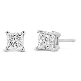 14k White Gold Solitaire Earrings 3/4 ct. tw.