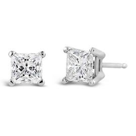 14k White Gold Solitaire Earrings 1 ct. tw.