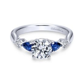 Gabriel & Co. 14k White Gold Blue Sapphire Diamond Engagement Ring Setting 1/10 ct. tw.