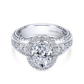 Gabriel & Co. 14k White Gold Diamond Engagement Ring Setting 5/8 ct. tw.
