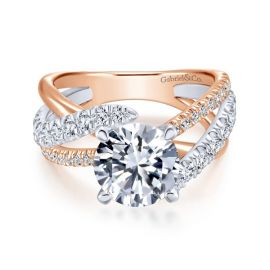 Gabriel & Co. 14k Rose and 14k White Gold Diamond Engagement Ring Setting 3/4 ct. tw.