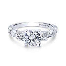 Gabriel & Co. 14k White Gold Diamond Engagement Ring Setting 1/2 ct. tw.