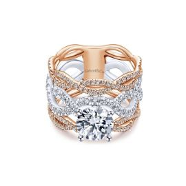 Gabriel & Co. 14k White Gold and 14k Rose Gold Diamond Engagement Ring Setting 1 1/4 ct. tw.