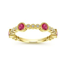 Gabriel & Co. 14k Yellow Gold Ruby Diamond Wedding Band 1/10 ct. tw.