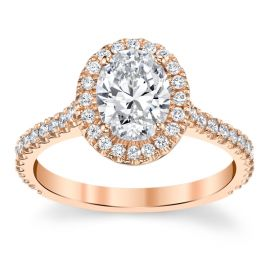 Suns and Roses 14k Rose Gold Diamond Engagement Ring Setting 1/3 ct. tw.