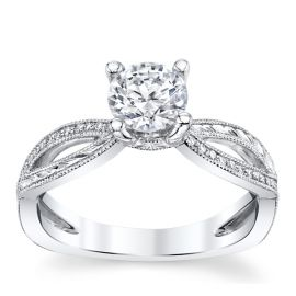 Suns and Roses 14k White Gold Diamond Engagement Ring Setting 1/10 ct. tw.