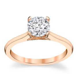 Suns and Roses 14k Rose Gold Diamond Engagement Ring Setting 1/10 ct. tw.